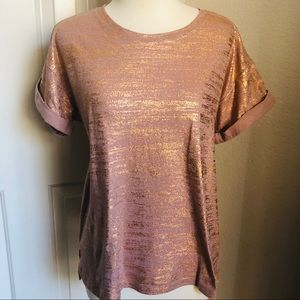 Forever 21 Rose Gold Shiney tee
